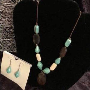 Jewelry - Turquoise & Brown Necklace & Earrings set